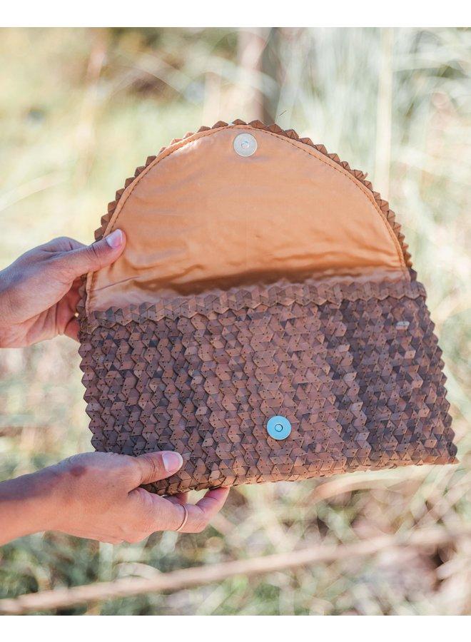Maya Deep Brown Fold Over Clutch