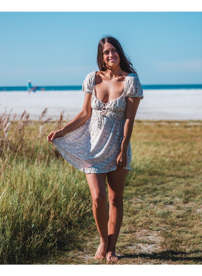 In Blossom Lace Up Mini Dress