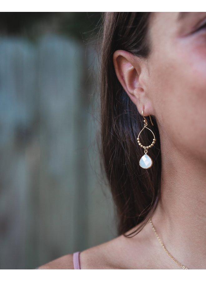 Bay Reef Earrings White Chalcedony