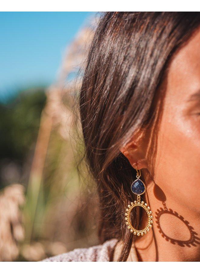 Gold Sun Earrings With Gemstone
