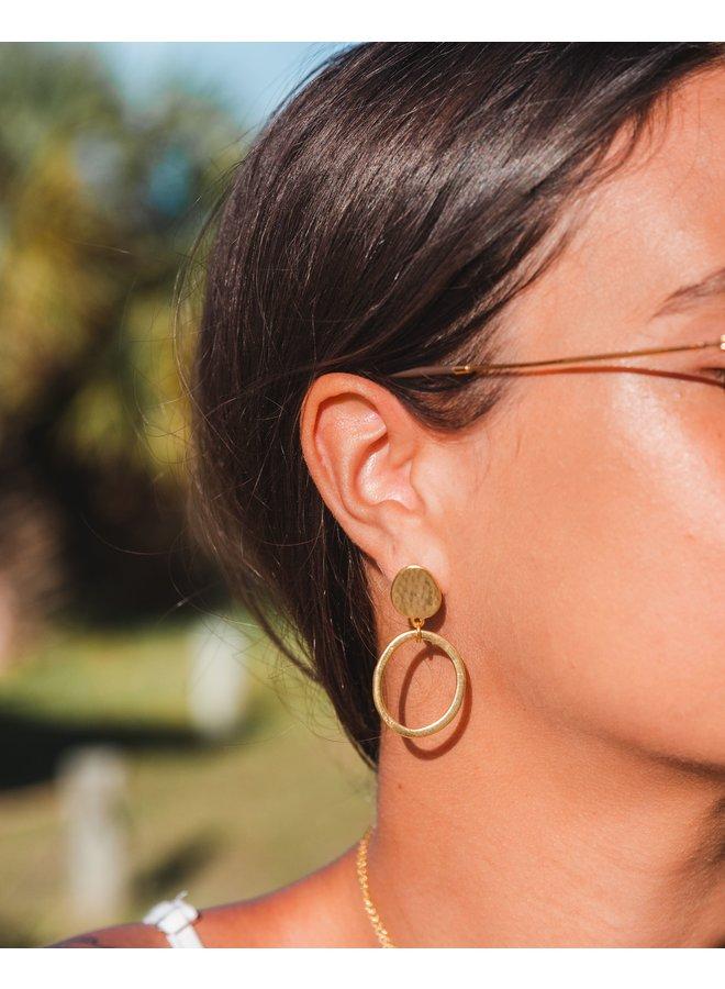 Antique Gold Hoop Stud Earrings