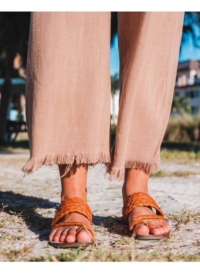 Latte Wide Leg Frayed Hem Pant