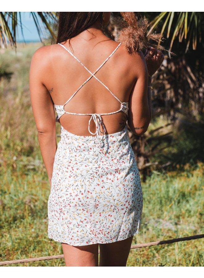Hazel Floral Open Back Mini Dress