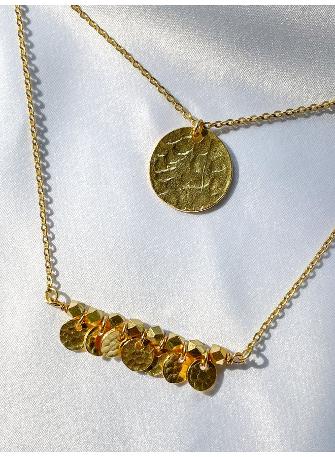 Double Layer Stamped Coin Necklace