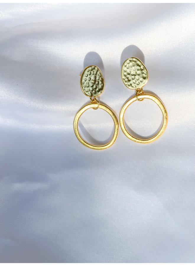 Gold Antique Hoop Stud Earrings