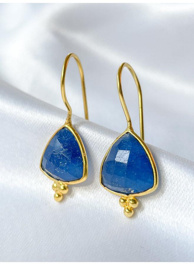 Blue Jade Triangle Earrings