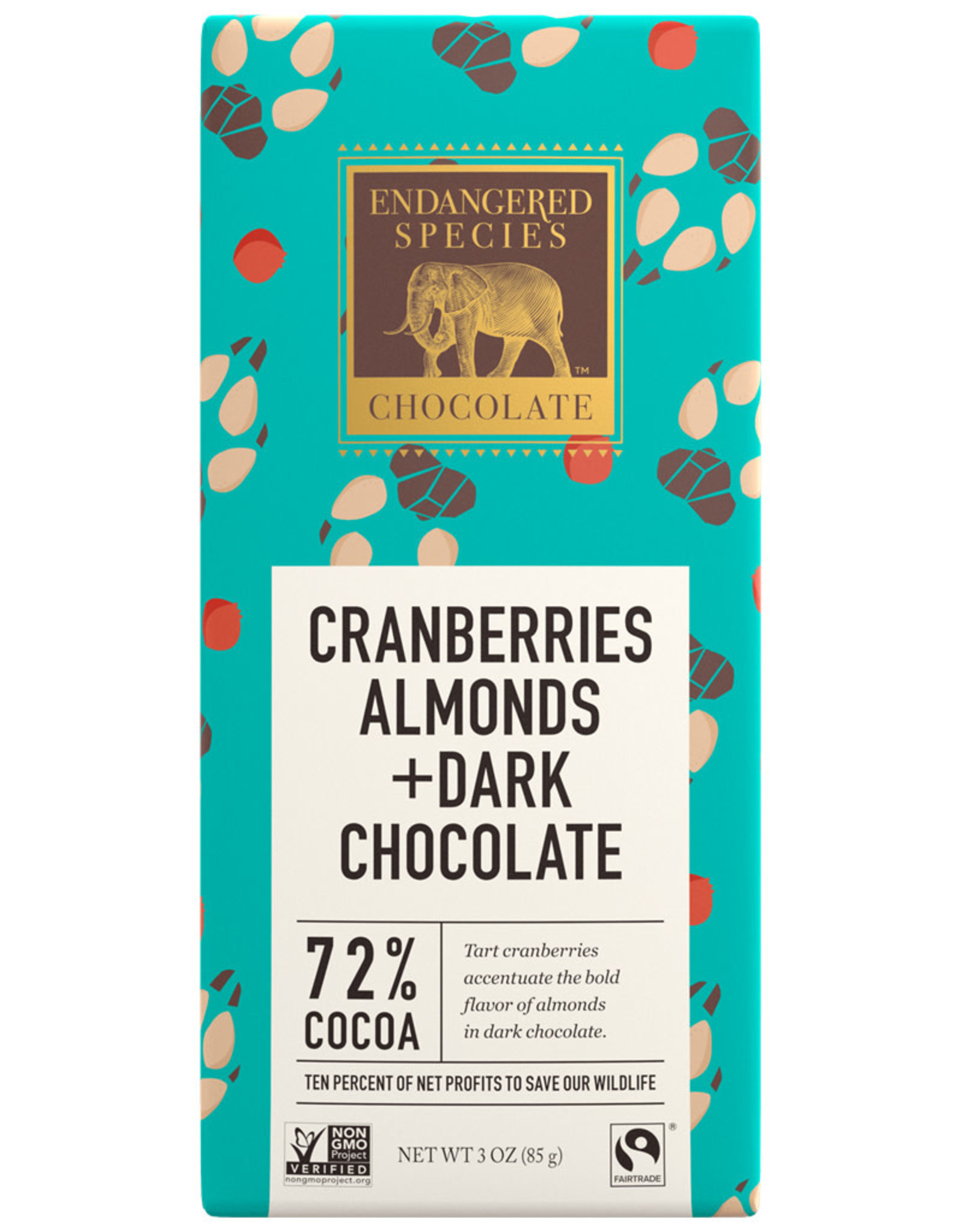 Endangered Species Endangered Species - Dark Chocolate Bar, Cranberries & Almonds