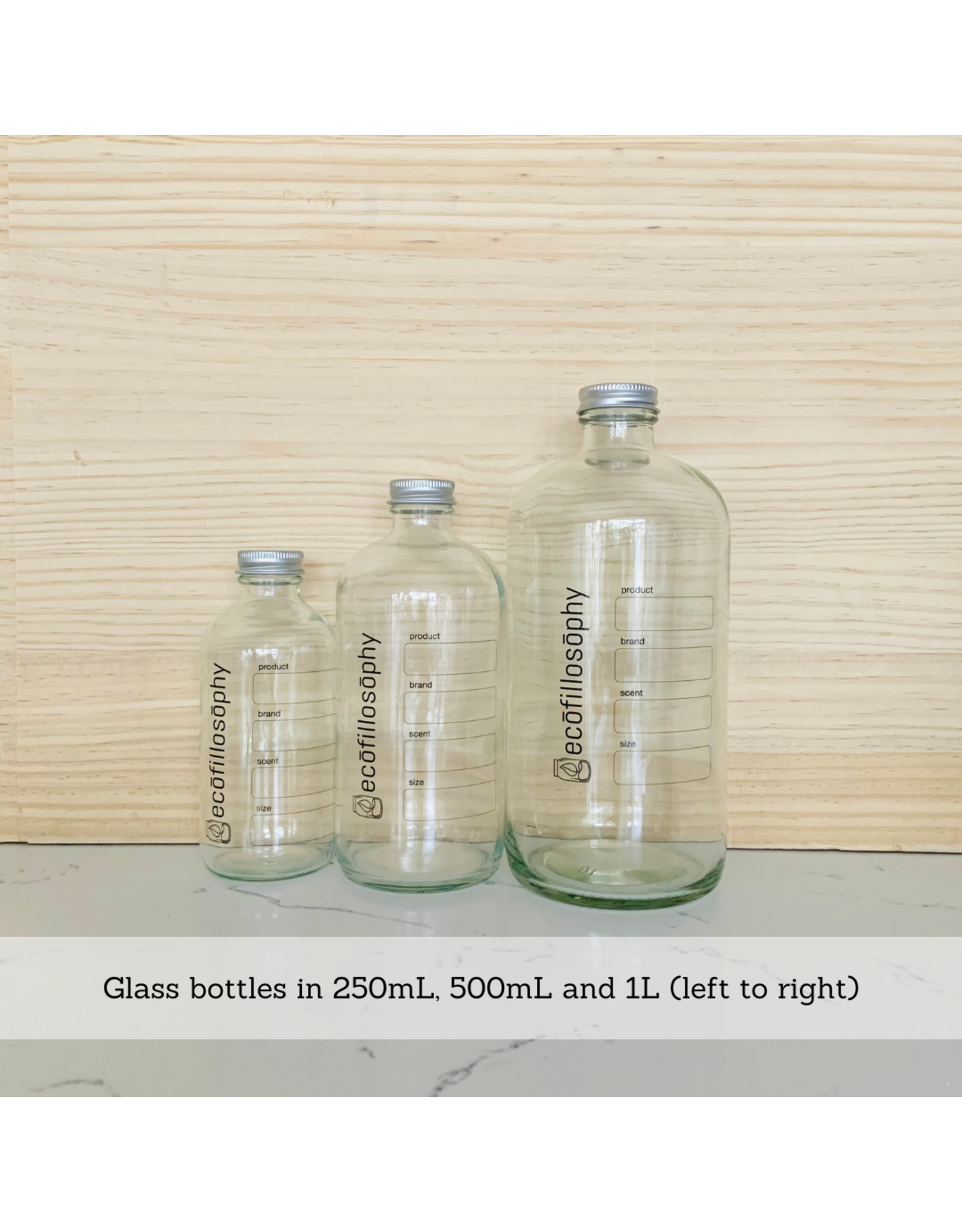 EcoFillosophy Empty EcoFillosophy Clear Glass Bottle with Metal Lid