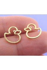 Gold-Plated Rubber Ducky Earrings
