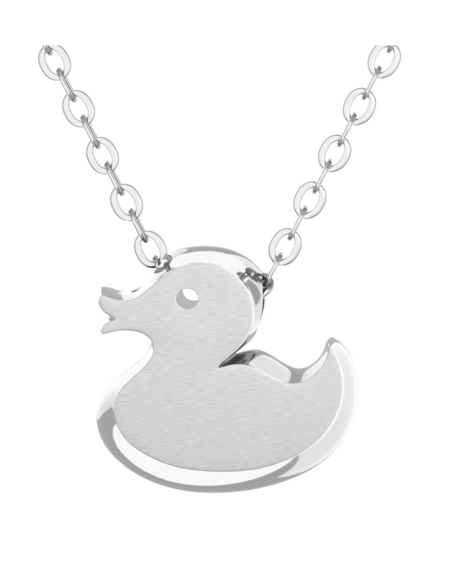 Rubber Duck Pendant & Chain - Silver