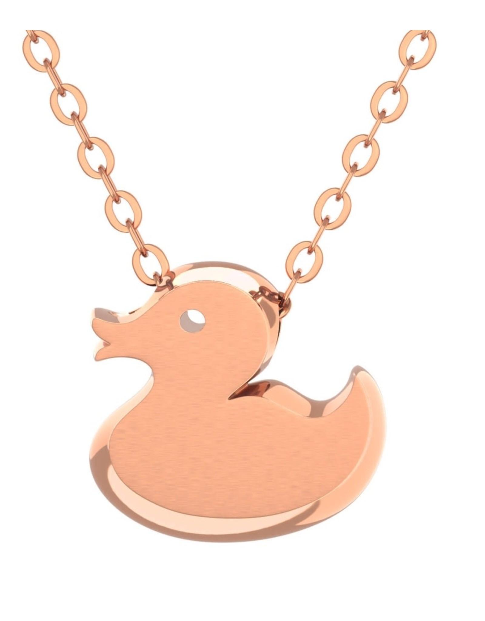 Rubber Duck Pendant & Chain - Rose Gold