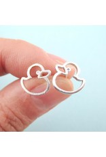 Silver-Plated Rubber Ducky Earrings