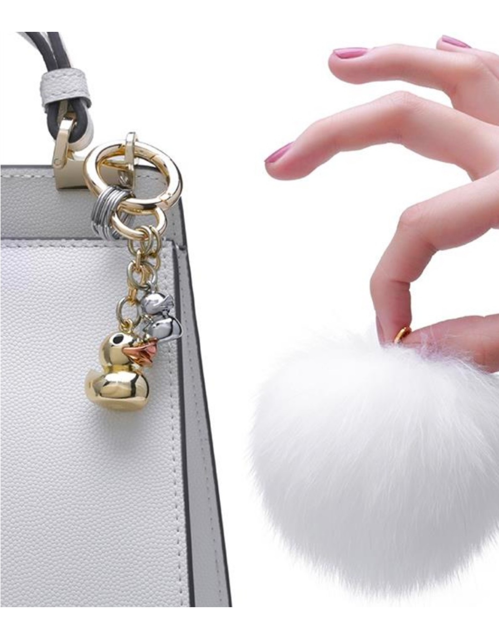 Rubber Duck Bag Charm - Gold Duck & Pom Pom