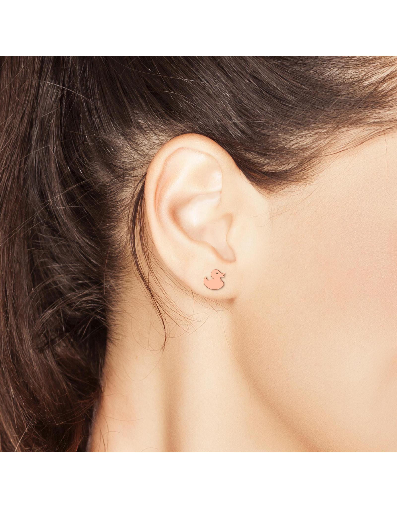 Rubber Duck Earrings - Rose Gold