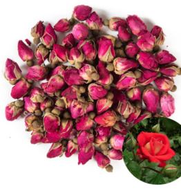Red Rosebuds and Petals - Organic
