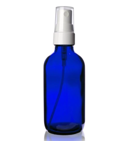 4 oz Blue Glass Bottle w/ Smooth White Fine Mist Sprayer