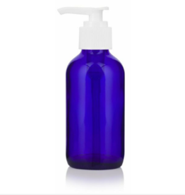4 oz Blue Glass Bottles w/ White PP Lotion Pump