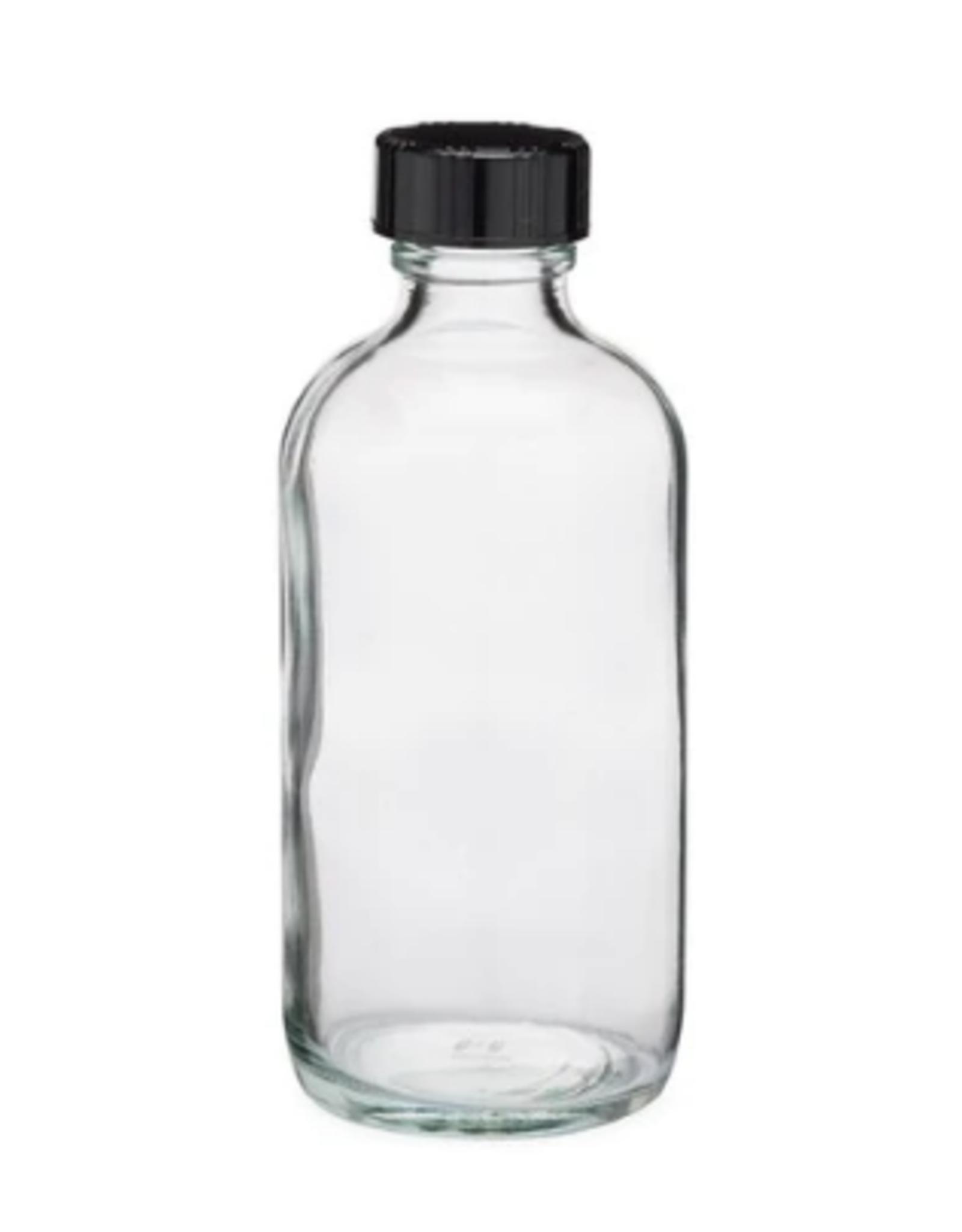 4 oz Clear Glass Bottles w/ Black Cap