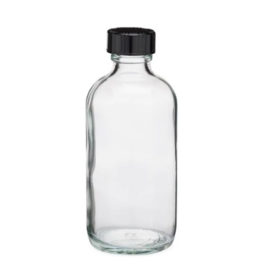 4 oz Clear Glass Bottles w/ Black Cap
