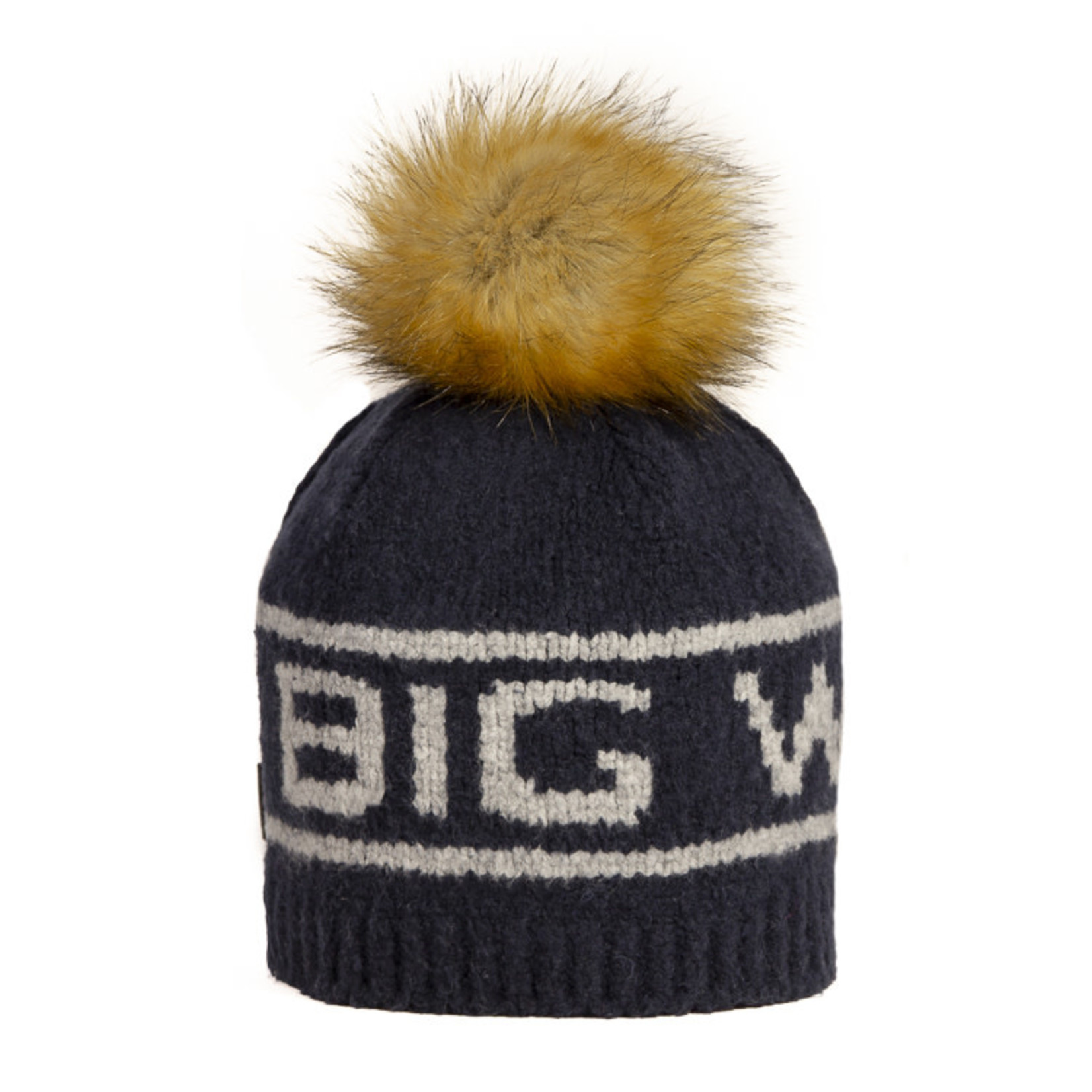 Big White Big Pom Faux Navy