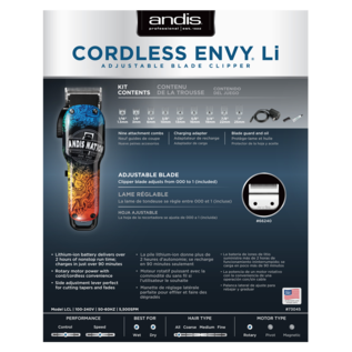 """Andis Andis Envy Li """"Andis Nation"""" Adjustable Blade Cordless Clipper w/ Guides LCL"""