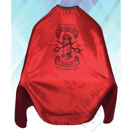 """Shave Factory Shave Factory Satin Cutting Cape Hook Closure 58""""x51"""" Barber Shop Red"""