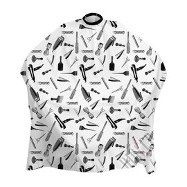 """Shave Factory Shave Factory Satin Cutting Cape Snap Closure 57""""x51"""" Pattern White"""