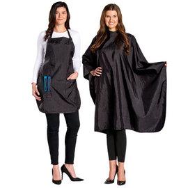 "SalonChic SalonChic Ultra Light Crinkle Nylon Styling Cape Snap Closure 54""x58"" & Apron Black"