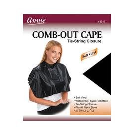 "Annie Annie Comb-Out Cape Vinyl Tie String Closure 27""x27"" Black"