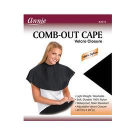 """Annie Annie Comb-Out Cape Nylon Velcro Closure 28""""x28"""" Black"""