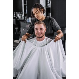 """Barber Strong Barber Strong Cape NanoShield Polyester Hook Closure White   Black Pinstripe 54""""x64"""""""