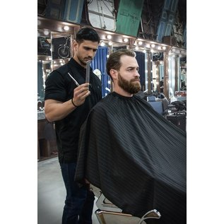 Barber Strong Barber Strong Cape NanoShield Polyester Hook Closure Black/White Pinstripe