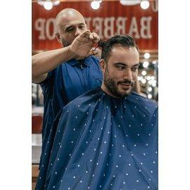 "Barber Strong Barber Strong Cape NanoShield Polyester Hook Closure Blue   Barber Shield 54""x64"""