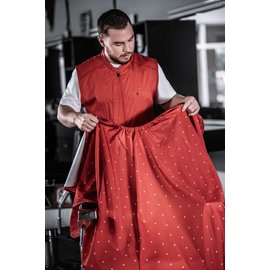 """Barber Strong Barber Strong Cape NanoShield Polyester Hook Closure Red   Barber Shield 54""""x64"""""""