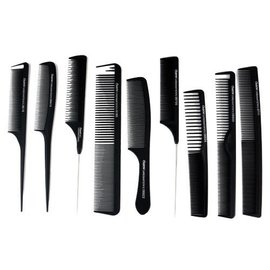 Oubon Oubon 9pc Carbon Comb Set w/ Sturdy Case Heat Resistant Anti-Static Black