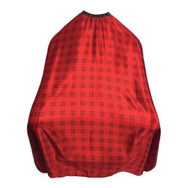 """Shave Factory Shave Factory Satin Cutting Cape Snap Closure 57""""x51"""" Pattern Red"""