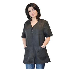Niso Niso Hair Stylist Zippered Jacket Pin Stripe Black No Collar
