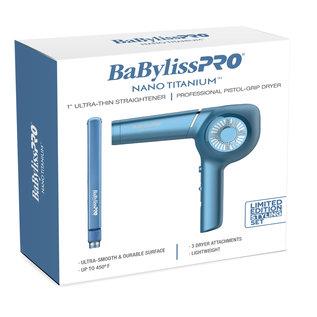 "BabylissPRO BabylissPRO Nano Titanium 1"" Ultra Thin Straightener Flat Iron + Pistol Grip Dryer"