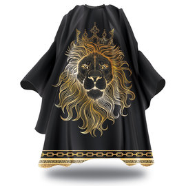 """Black Ice Black Ice Signature Series Barber Styling Cape """"Live Like A King"""" Hook Closure 59""""x55"""""""