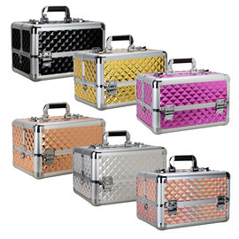 Diamond Cosmetic Makeup Hard Case w/ Dividers & Extendable Trays