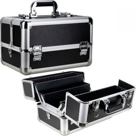 Smooth Cosmetic Makeup Hard Case w/ Dividers & Extendable Trays Black