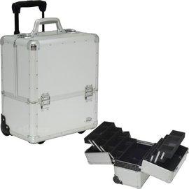 Dot Pattern 4-Tier Accordion Trays Rolling Beauty Makeup Hard Case