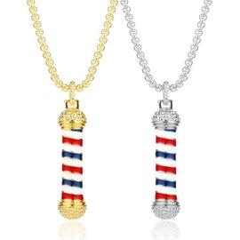 MD Barber Rhinestone Barber Pole Necklace or Keychain
