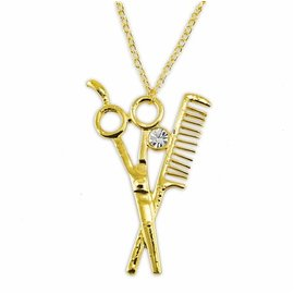 MD Barber Shear & Comb Necklace Gold