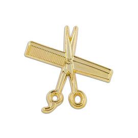MD Barber Shear & Comb Lapel Pin Gold