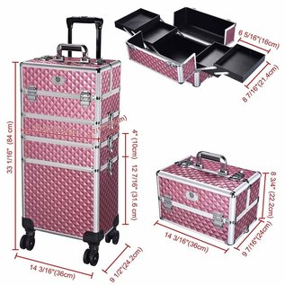 Byootique Byootique 4-in-1 Rolling Beauty Makeup Hard Case Cosmetic Trolley Organizer Lockable