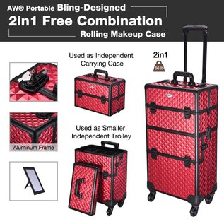 Byootique Byootique 2-in-1 Rolling Beauty Makeup Hard Case Lockable Red