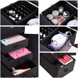 Byootique Byootique Aluminum Beauty Makeup Hard Case with Table Rolling Travel Salon Nail Trolley Cosmetic w/ Speakers