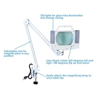 5X Diopter Magnifying Lamp Clamp On Desk Lamp Light Magnifier