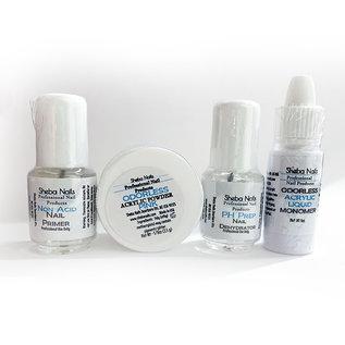Sheba Nails Sheba Nails 4pc Odorless Monomer, Nail Primer, Powder & Nail Dehydrator Set Kit